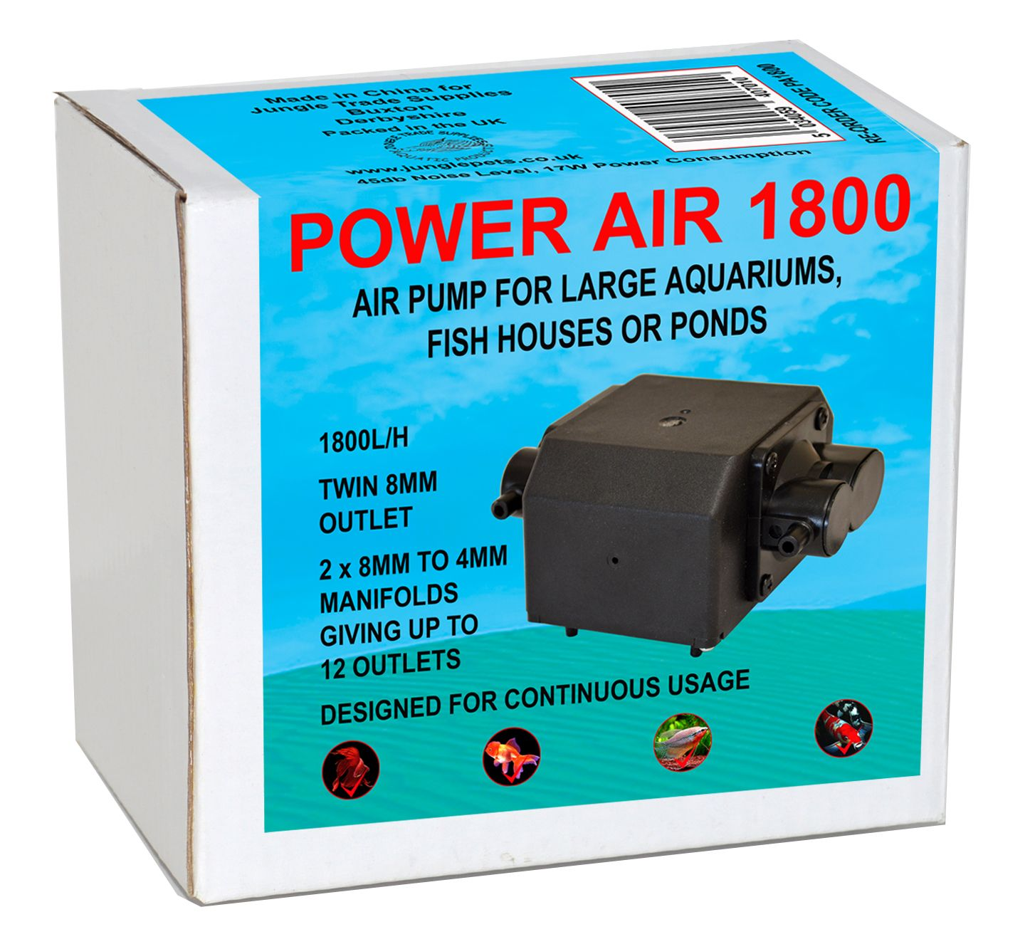 Power air 1800 l h airpump multi outlet pump for large for Large fish pond pumps